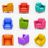 Set of  colored   armchairs on white background. Collection types seating in 3d style , rendering . Isolated   illustration art Stock Photography