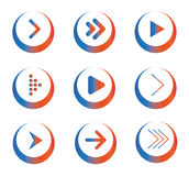 Set Of Colored Arrow Icons In Circles Stock Photos
