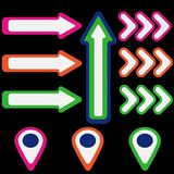 Set of colored arrows and pointers vector illustration