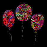 Set of colored asymmetrical balloons. Vector illustration of festive colored balloons with asymmetrical geometric elements on a black background. greeting card Royalty Free Stock Photo