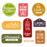 Set of colored autumn stickers, labels, labels Royalty Free Stock Photos