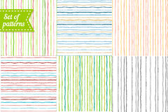 Set of colored backgrounds with stripes. Seamless Royalty Free Stock Photo