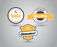 Set of colored badges with big sale sign. Royalty Free Stock Photography