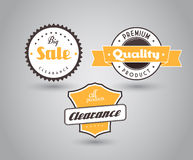 Set of colored badges with big sale sign. Royalty Free Stock Photo