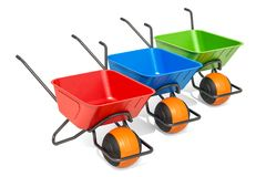 Set of colored ballbarrows, wheelbarrows. 3D rendering. Isolated on white background Stock Photos