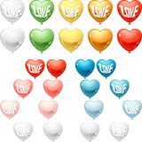 Set of colored balloon Hearts. Vector collection Royalty Free Stock Photography
