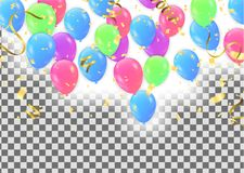 Set of colored balloons, frame composition with space for your t. Ext  confetti celebration Stock Images