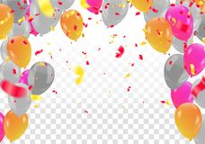 Set of colored balloons, frame composition with space for your t. Ext  confetti celebration Stock Photos