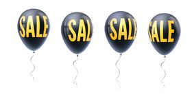 Set of colored balloons with word of sale, symbol of discount isolated on white background. Set of icons for retail royalty free illustration