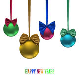 Set of colored balls and bows  on white background, Royalty Free Stock Photos