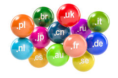 Set of colored balls with country code top-level domain names, 3 Stock Photos