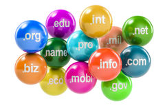 Set of colored balls with domain names, 3D rendering Royalty Free Stock Photography