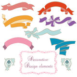 Set of colored banners. Decorative vintage banners , design elements stock illustration