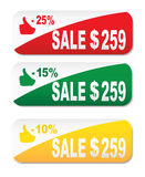 Set of colored banners - new offer - 20%, discount - 30%, sale - 50% Royalty Free Stock Photo