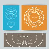 Set of colored banners with patterns arrows Royalty Free Stock Photos