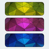 Set of colored banners with polygonal background. Black stroke. Vector� Stock Photography