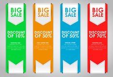 Set of colored banners for sale. Set of colored vertical banners for sale with a ribbon. Elements of infographics for posting information. Vector illustration Royalty Free Stock Image