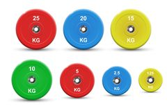 Set of colored barbell plates, vector illustration stock illustration
