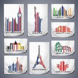 Set of colored barcode stickers. Made in the country royalty free illustration