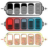 Set of colored batteries Stock Photography