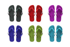 Set of colored  beach sandals. Set of six colored flip-flop beach sandals Royalty Free Stock Image