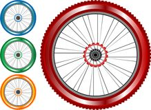 Set of colored bike wheel with tire spokes stock illustration