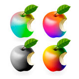 Set of colored bitten apples isolated Stock Photos