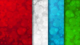 Set of colored blurred backgrounds with twinkly lights Royalty Free Stock Photography
