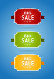Set of colored boards with big sale sign. Stock Photography