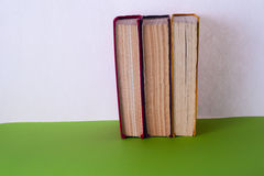 Set of colored books on bright colorful background. Back to school Stock Image