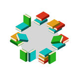 Set of colored books in circle Royalty Free Stock Images