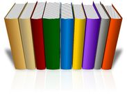 Set of colored books in a row with reflection Royalty Free Stock Photo