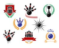 Set of colored bowling emblems and badges. Set of colored emblems and bowling badges with ninepins, strike, bowling balls, trophy, wreath, shield and banners Stock Photography