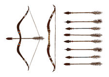 Set of 2 colored bows and 9 arrows. Isolated. Stock Image