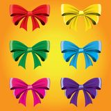 Set of colored bows. Vector image. Decorative element for decoration of holidays vector illustration