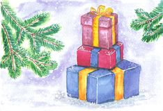 Set of colored boxes with gifts on a background of green fir branches. Watercolor illustration: bright multi-colored boxes with gifts on a background of green Stock Photo