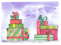 Set of colored boxes with gifts on a blue background. Watercolor illustration: bright multi-colored boxes with gifts on a blue background Stock Photo