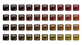 Set of colored brown glass buttons. Set of colored glass buttons. Glossy icons for web. Vector design rectangle. Detailed gradation of brown color illustration Royalty Free Stock Photos