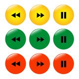Set of colored buttons icons rewind pause. royalty free illustration