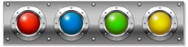 Set of colored buttons. Set of multicolored round buttons, panel ignition on or start the instrument. Vector graphics Stock Photo