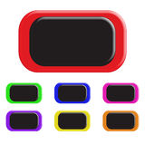 Set of colored buttons. In a rectangular shape. 3D. Vector illustration Stock Images