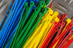Set colored cable ties Stock Photography