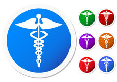Set of Colored Caduceus Symbols Stock Photography