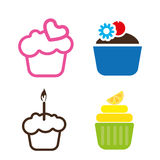 A set of colored cakes. With heart, lemon and candle in outlines, over a white background, digital vector image Royalty Free Stock Photography