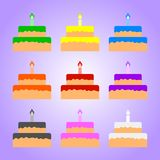 Set of Colored Cakes isolated on violet background. Vector Illustration for Your Design, Game, Card. stock illustration