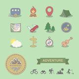 Set of colored camping equipment symbols and icons stock illustration