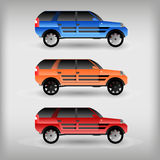 Set of colored car. Transport icons vector illustrations stock illustration