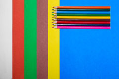 Set of colored cardboard with a pencil Royalty Free Stock Photos
