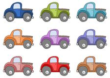 Set of colored cars isolated on white Stock Photos