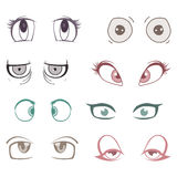 Set of colored cartoon eyes Royalty Free Stock Images